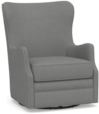 Pottery Barn Oliver Upholstered Wingback Swivel Armchair