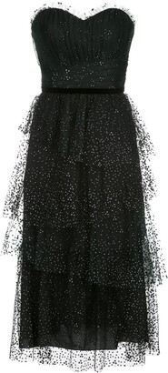 Marchesa Notte Flocked Glitter Tulle Tiered Gown