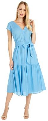 BB Dakota For A Good Gauze Cotton Crinkle Midi Dress (Surf Blue) Women's Dress