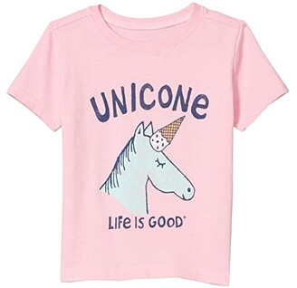 Life is Good Unicone Crusher Tee (Toddler) (Happy Pink) Kid's Clothing