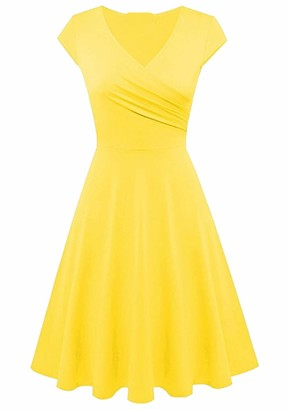 YMING Ladies Sexy Cocktail Dress V Neck Party Dress Rockabilly Swing Evening Swing Prom Dress Green XL