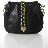 Juicy Couture Black Leather Gold Tone Chain Link Trimmed Shoulder Handbag