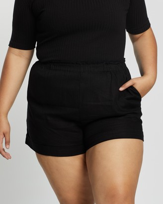 Atmos & Here Atmos&Here Curvy - Women's Black High-Waisted - Kinsley Linen Shorts - Size 18 at The Iconic