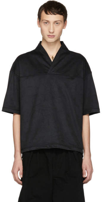 SASQUATCHfabrix. Black Faux-Suede Wa-Neck T-Shirt