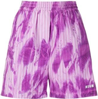 MSGM Striped Tie-Dye Print Shorts