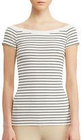 Lauren Ralph Lauren Petite Striped Off-the-Shoulder Tee