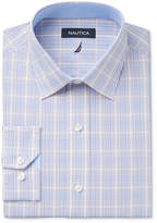 Nautica Men's Classic/Regular Fit Slate Blue/Khaki/White Plaid Dress Shirt