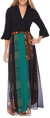 R & K Originals 3/4 Sleeve Abstract Maxi Dress