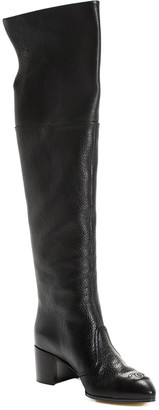 Chanel Black Grained Leather Cc Over-The-Knee Boot (Size 38, Never Worn)