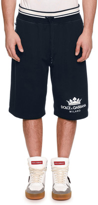 Dolce & Gabbana Men's Logo Drawstring Sweat Shorts w/ Side Zipper