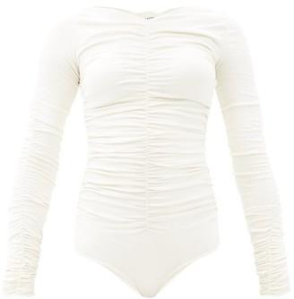 KHAITE Anastasia Ruched Jersey Bodysuit - Ivory