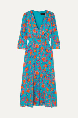 Saloni Eve Printed Silk Crepe De Chine Midi Dress - Blue
