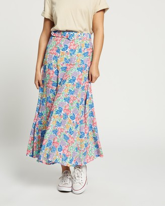 Faithfull The Brand Women's Blue Midi Skirts - Valensole Midi Skirt - Size 6 at The Iconic