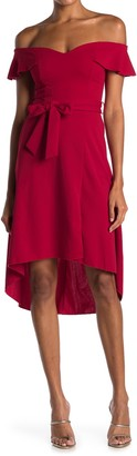 Love, Nickie Lew Off-the-Shoulder High/Low Ruffle Hem Midi Dress