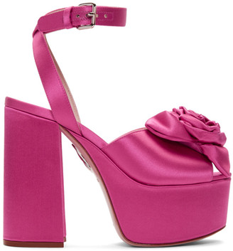 Miu Miu Pink Satin Rose Sandals