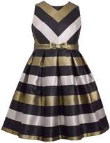 Bonnie Jean Girls 7-16 & Plus Size Metallic Chevron Striped Taffeta Dress