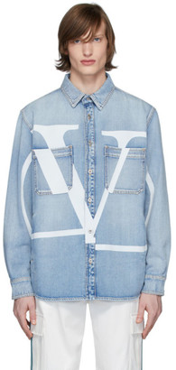 Valentino Blue Denim Logo Shirt