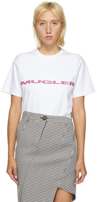 Thierry Mugler SSENSE Exclusive White and Pink Logo Oversized T-Shirt