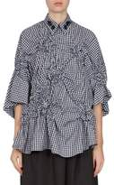 Simone Rocha Gingham Floral Smocked Bell Sleeves Shirt
