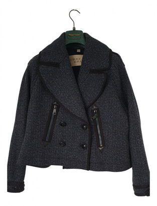 Burberry Blue Tweed Leather jackets