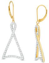 Zales 1 CT. T.W. Diamond Twist Triangle Drop Earrings in 10K Gold
