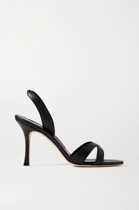 Manolo Blahnik Callasli Leather Slingback Sandals - Black