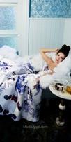 Mac Duggal Strapless Sweetheart Gemstone Print Evening Gown
