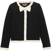 Moschino Bow-embellished Wool And Cotton-blend Cardigan - Black