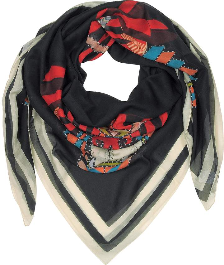 Givenchy Geometric Rottweiler Printed Cotton and Silk Stole