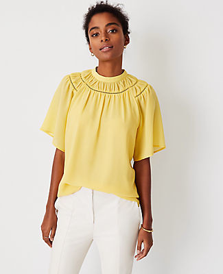 Ann Taylor Cutout Yoke Top