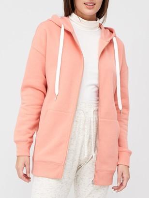 Very The Oversized Zip Through Hoodie - Pink