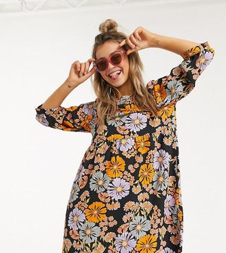 Monki Romina floral smock mini dress in multi