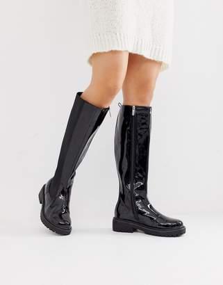 Lost Ink knee high chelsea boot in black