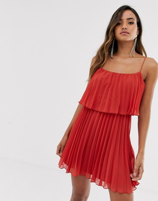 Asos Design DESIGN pleated crop top mini dress with scoop neck-Red