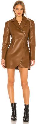 MATÉRIEL Faux Leather Blazer Dress