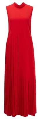 BOSS Partially pleated maxi dress in crinkle crepe with tie neck