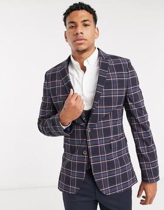 ASOS DESIGN wedding super skinny suit jacket in pink check