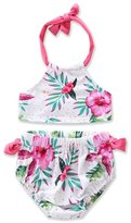 Scfcloth Baby Girls Kids Lovely Flower Halter Swimsuit 2 Pieces Bikini Set (T)