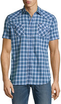 Diesel Plaid Short-Sleeve Button-Down Shirt, Midnight Blue