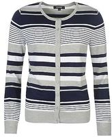 Full Circle Womens Stripe Cardigan Ribbed Gilet Long Sleeve Button Front Top