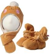 Zutano Infant Girl's Bunny Velour Hat & Bootie Set