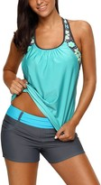 Actloe Women U-Neck Floral Blouson T-Back Swimming Tankini Top Summer Beachwear Mint Small