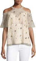 Elie Tahari Genevieve Embellished Silk Popover Blouse, Nude