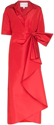 Carolina Herrera gathered silk-taffeta maxi dress