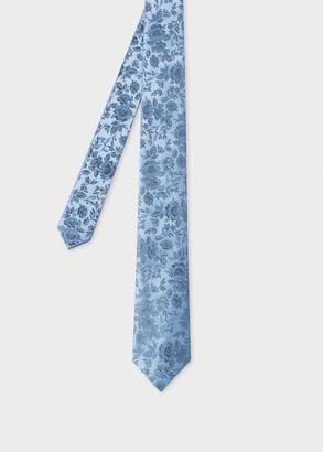 Paul Smith Men's Light Blue Floral Jacquard Narrow Silk Tie