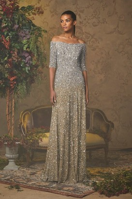 Badgley Mischka Couture Off the Shoulder Sequin Gown