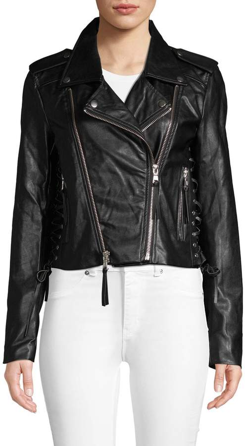 d404fa4ee Lace-Up Faux Leather Moto Jacket