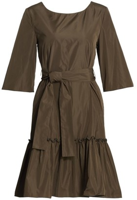 Piazza Sempione Belted Taffeta Dress