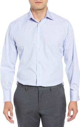 David Donahue Micro Print French Cuff Regular Fit Shirt