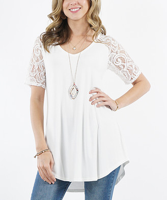 Lydiane Women's Tunics IVORY - Ivory V-Neck Lace-Sleeve Hi-Low Tunic - Women